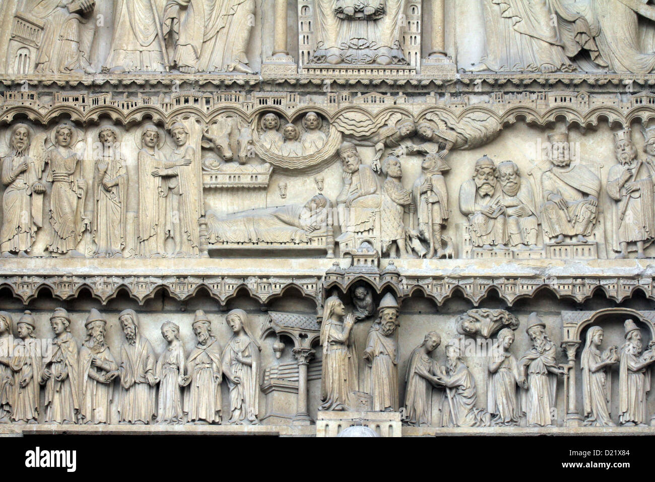 Notre Dame Cathedral, Paris, Portal of St. Anne Stock Photo