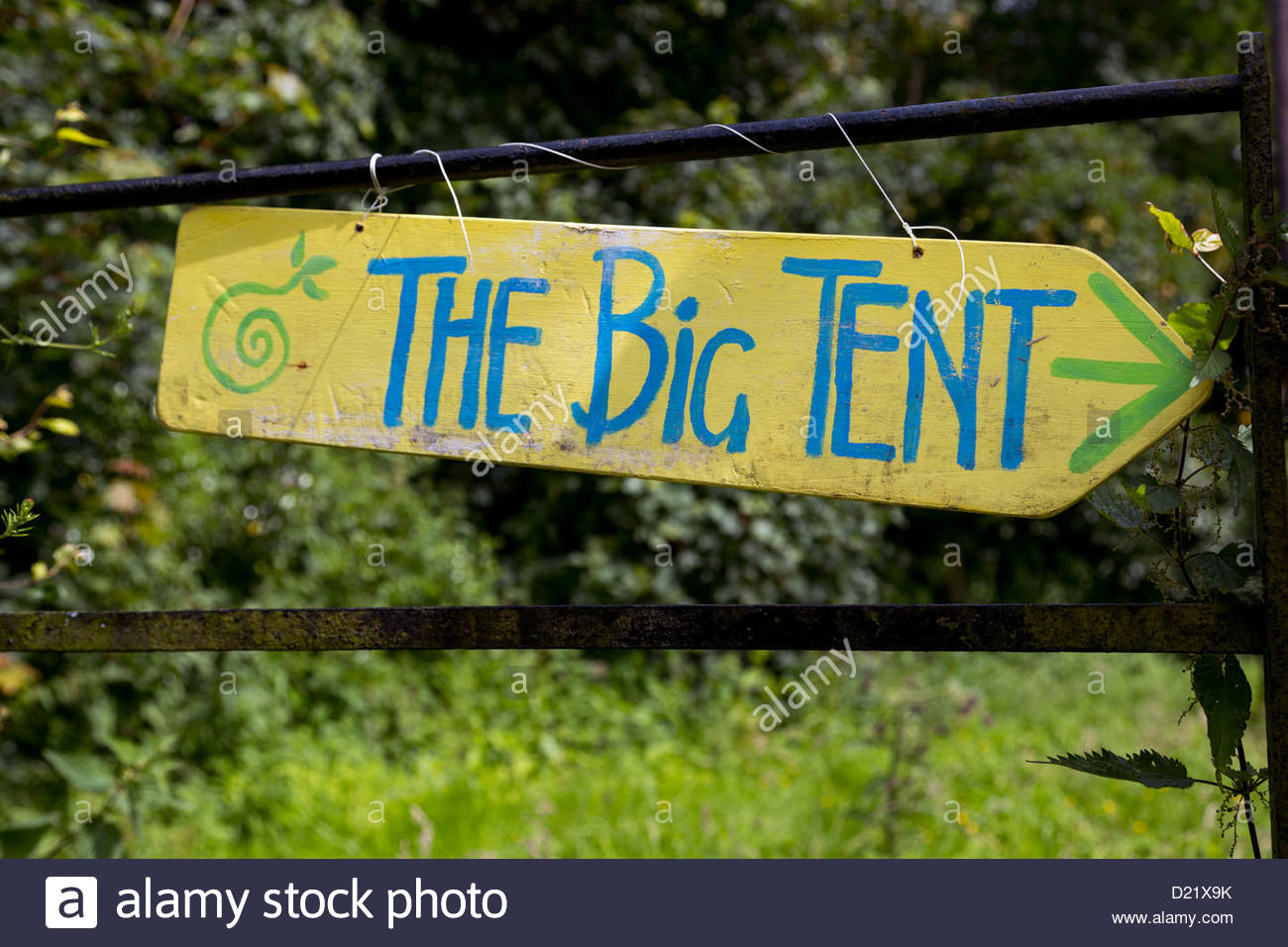 A hand painted sign for The Big Tent - Scotland's Environmental Festival, held at Falkland, Fife. - Stock Image