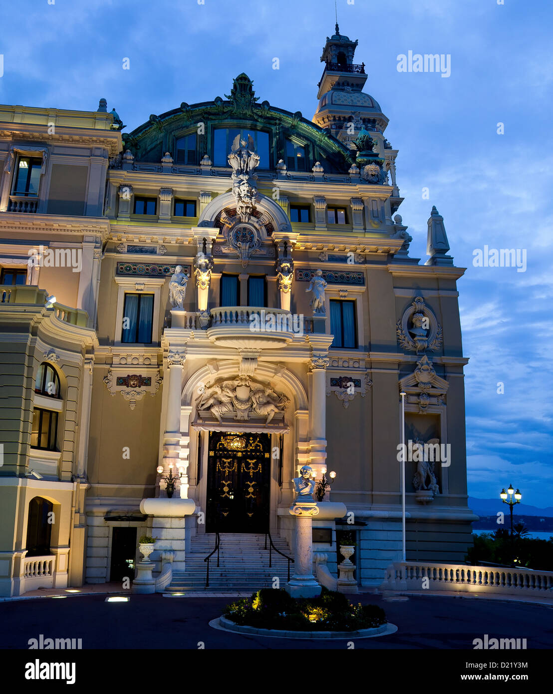 A beautiful building facade by night - Stock Image