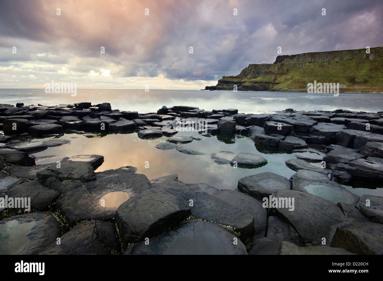 Giant's Causeway and Lacada Point - great landmarks from the Antrim coast of Northern Ireland - Stock Image
