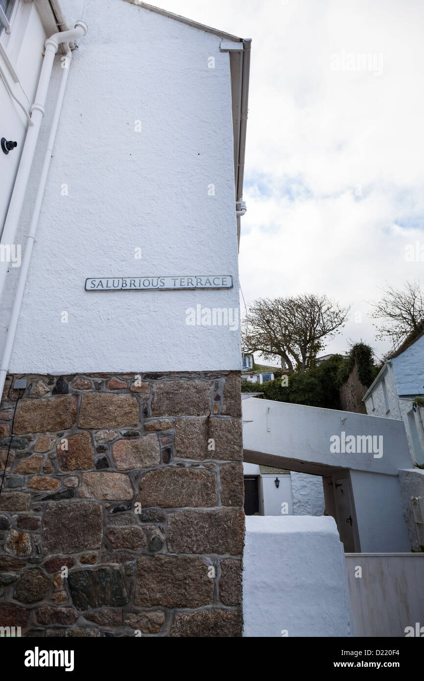 Street sign 'Salubrious Terrace' in St Ives, Cornwall. - Stock Image