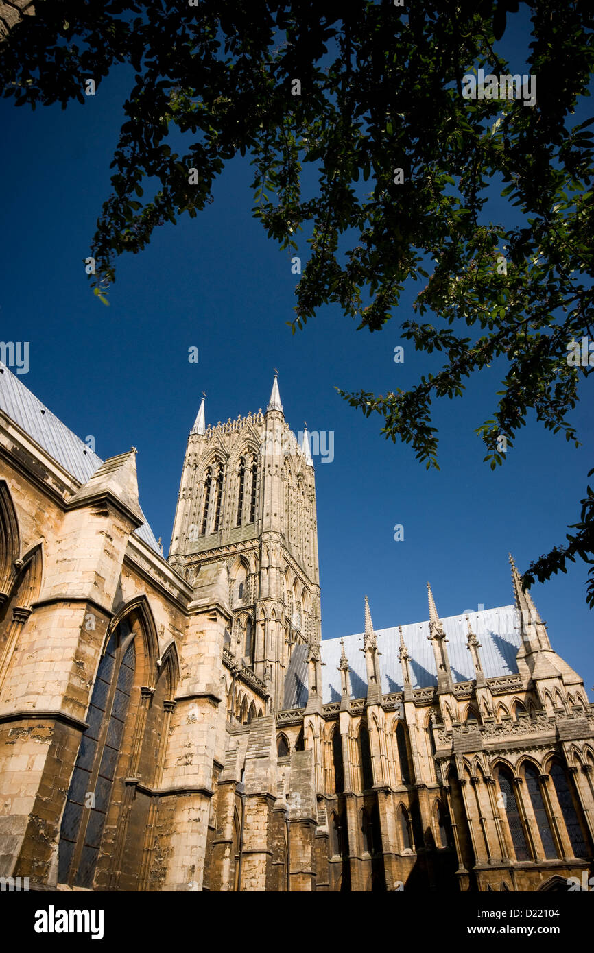 Main Tower of Lincoln Cathedral from the South West - Stock Image