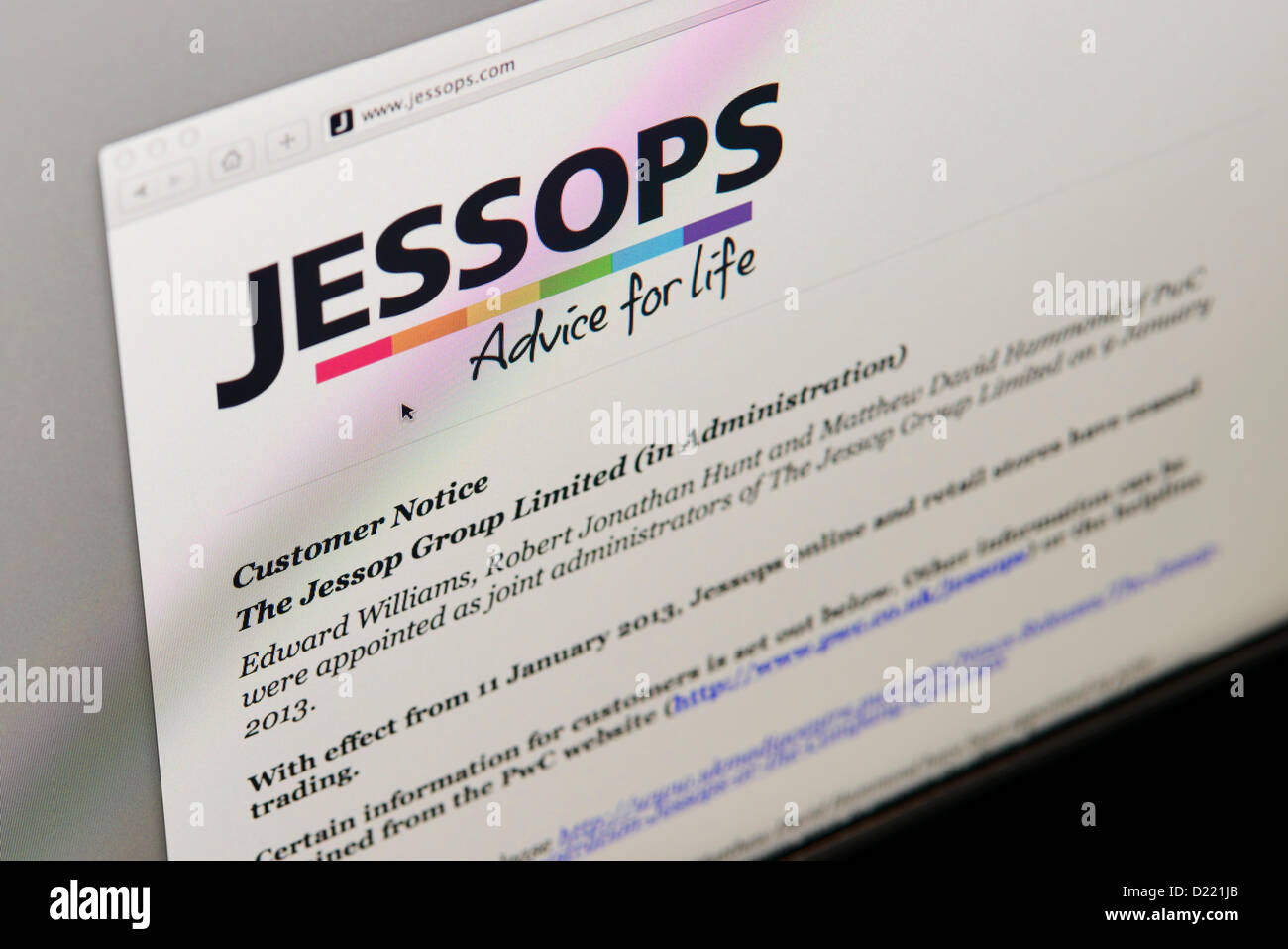 The website of Jessops, the UK High Street camera retail chain which today ceased trading. - Stock Image
