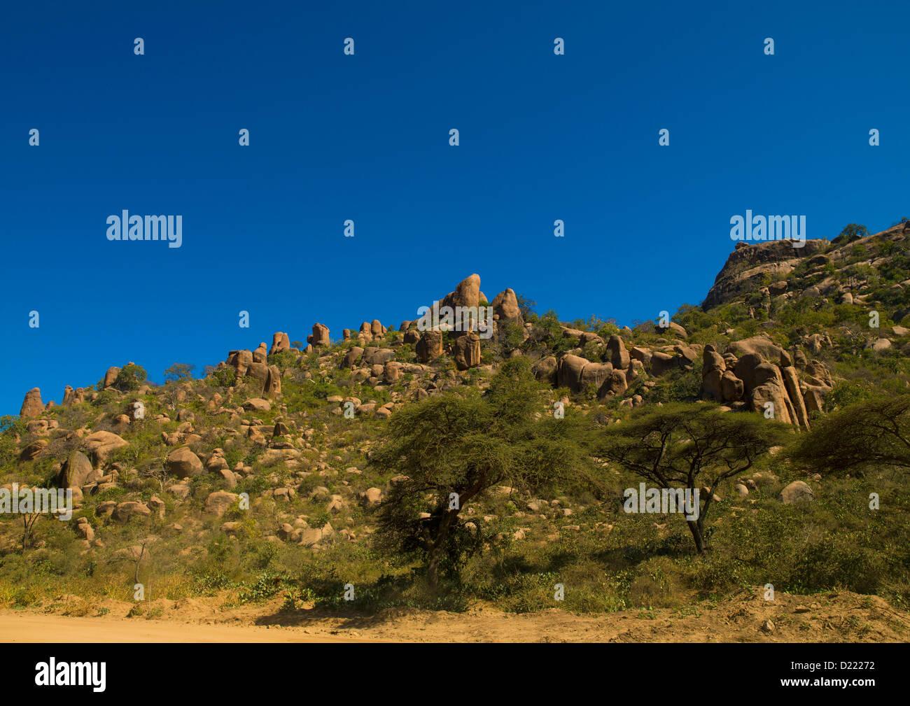Phallic Rocks At The Valley Of Marvels, Babile, Ethiopia Stock Photo