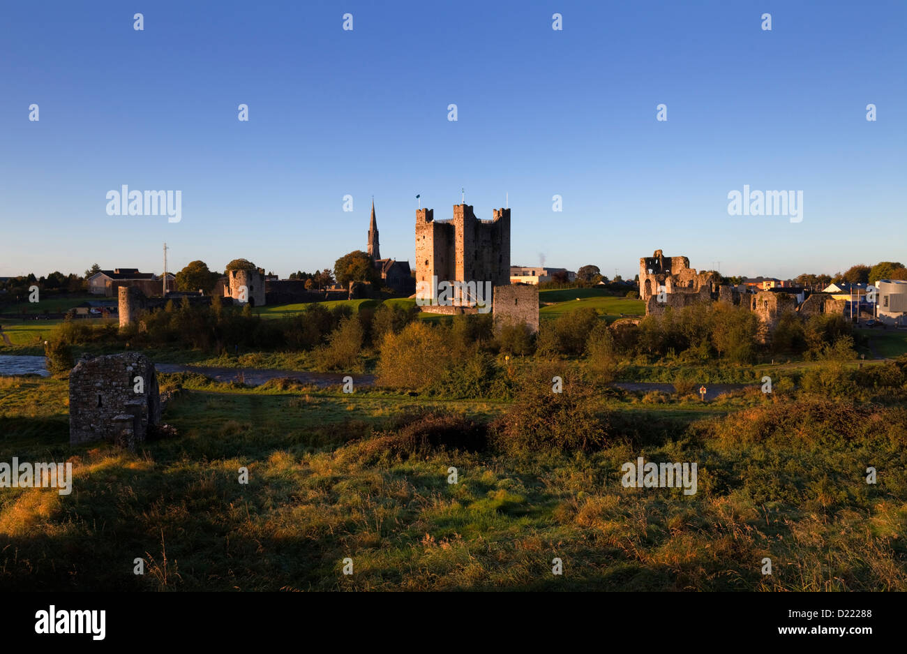Anglo-Norman Trim Castle on the bank of the River Boyne, used as a film location for the film 'Braveheart' - Stock Image