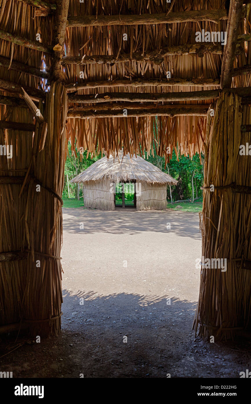Indigenous tribe huts, at Centro Ceremonial Indigena de Tibes, Ponce, Puerto Rico - Stock Image