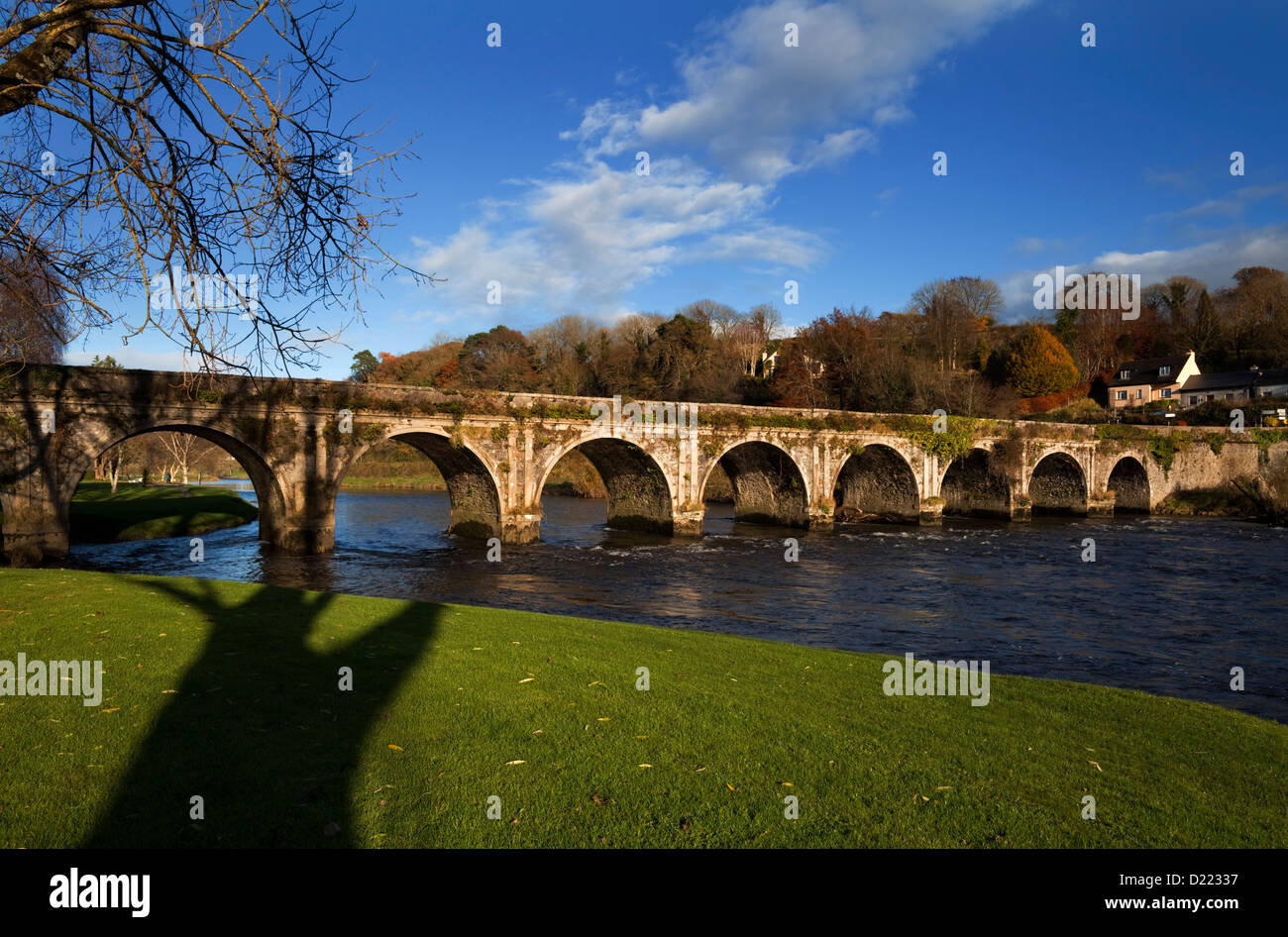 The Old Bridge over the River Nore, Inistioge, County Kilkenny, Ireland - Stock Image