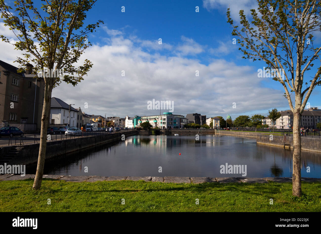 Enclosed Dock off the Corrib River near Claddagh Quay, Galway City, Ireland - Stock Image