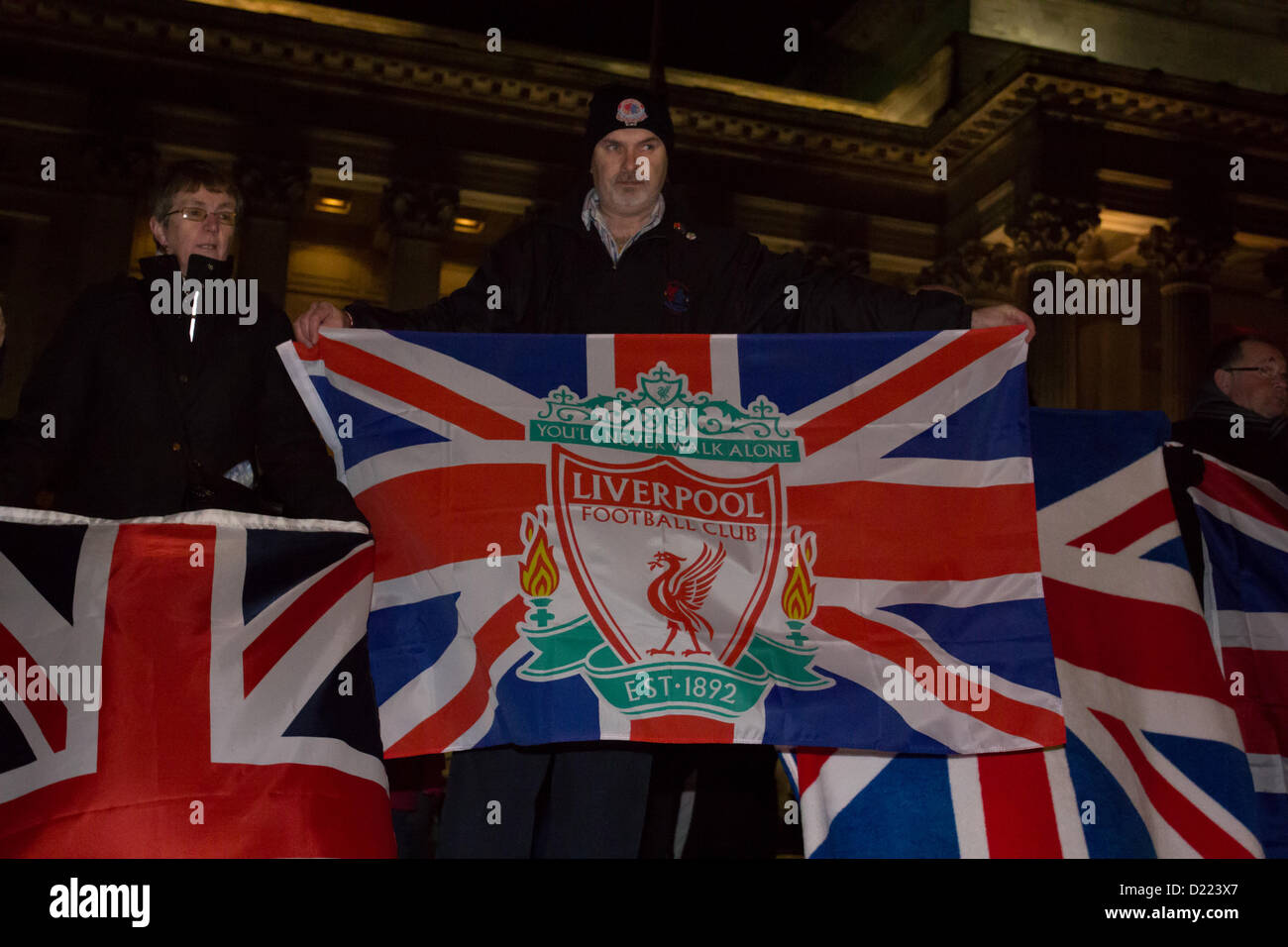Liverpool, UK. 11th January 2013. A protest held in Liverpool, UK in support of the union flag being flown on Belfast - Stock Image