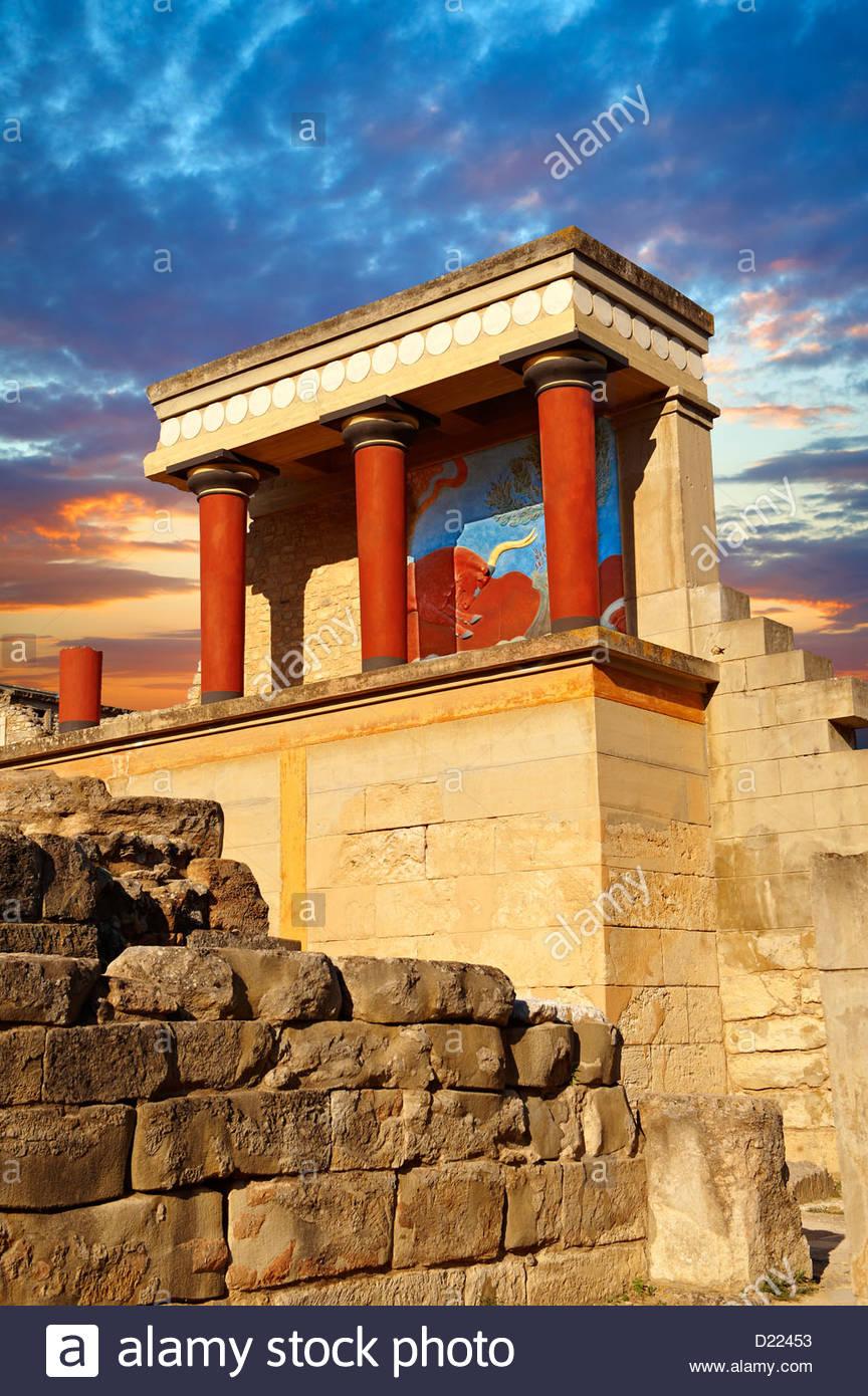 Arthur Evans reconstruction of the Nouth Propylaeum Knossos Minoan archaeological site, Crete - Stock Image