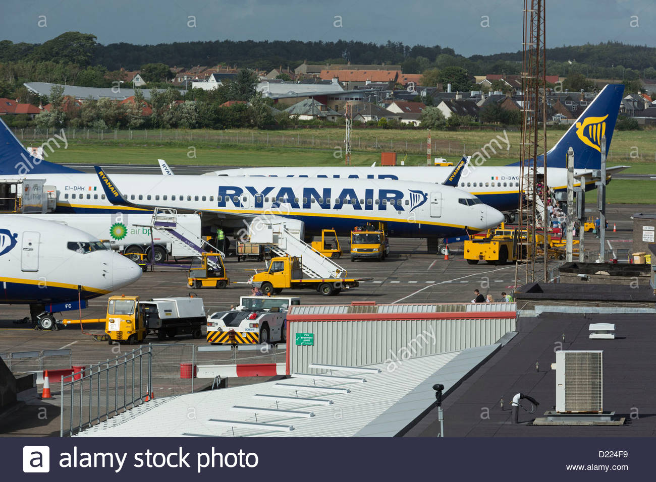 Ryanair aircraft at Glasgow Prestwick Airport, Prestwick, South Ayrshire. - Stock Image