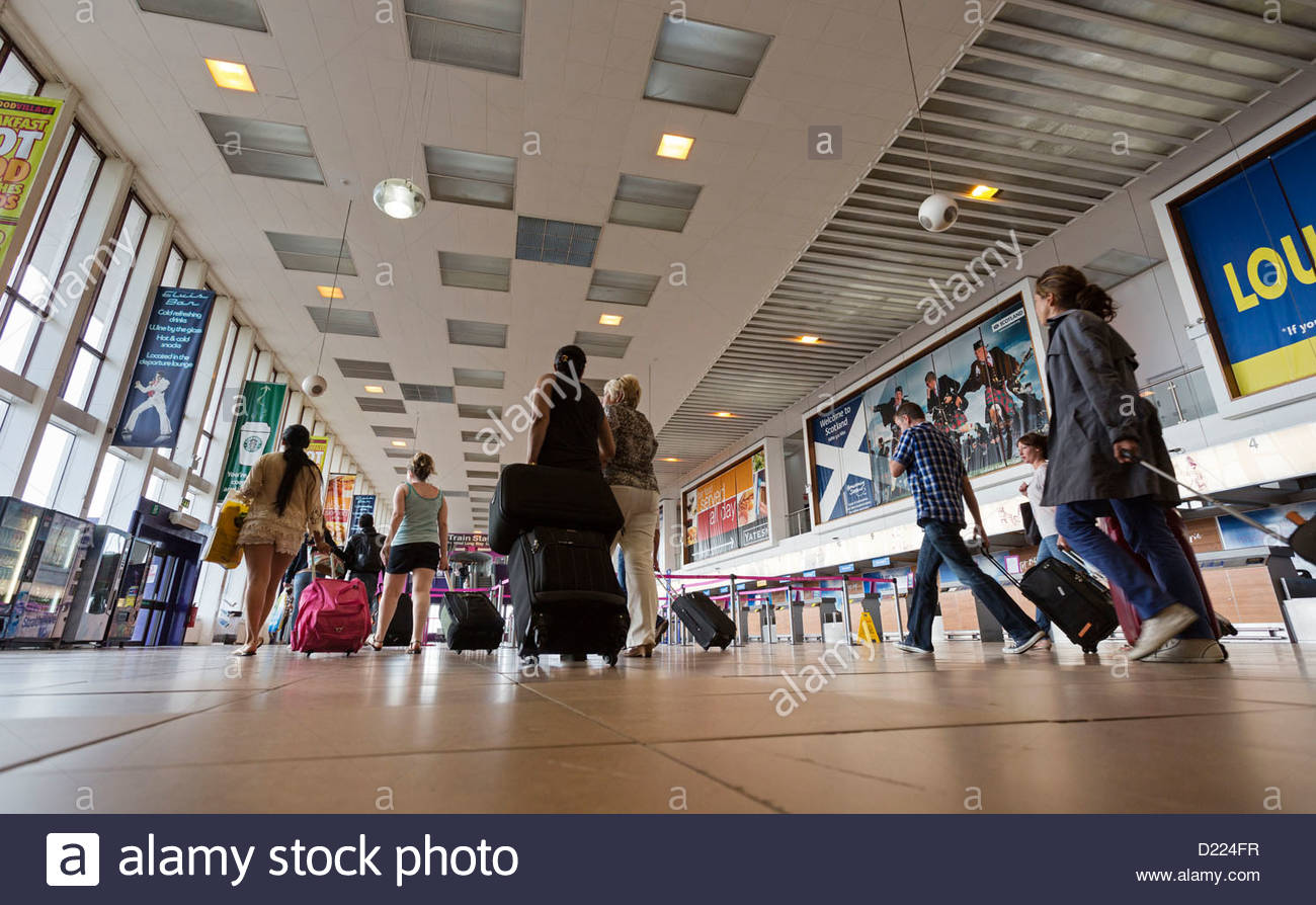 The main concourse area of Glasgow Prestwick Airport, Prestwick, South Ayrshire. Stock Photo
