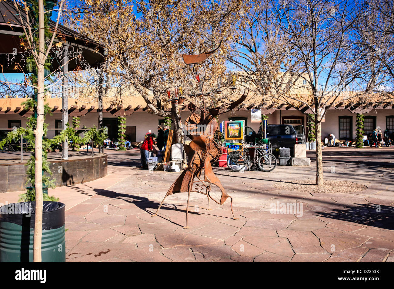 The Santa Fe Plaza on Indian Market day in the center of this NM city - Stock Image
