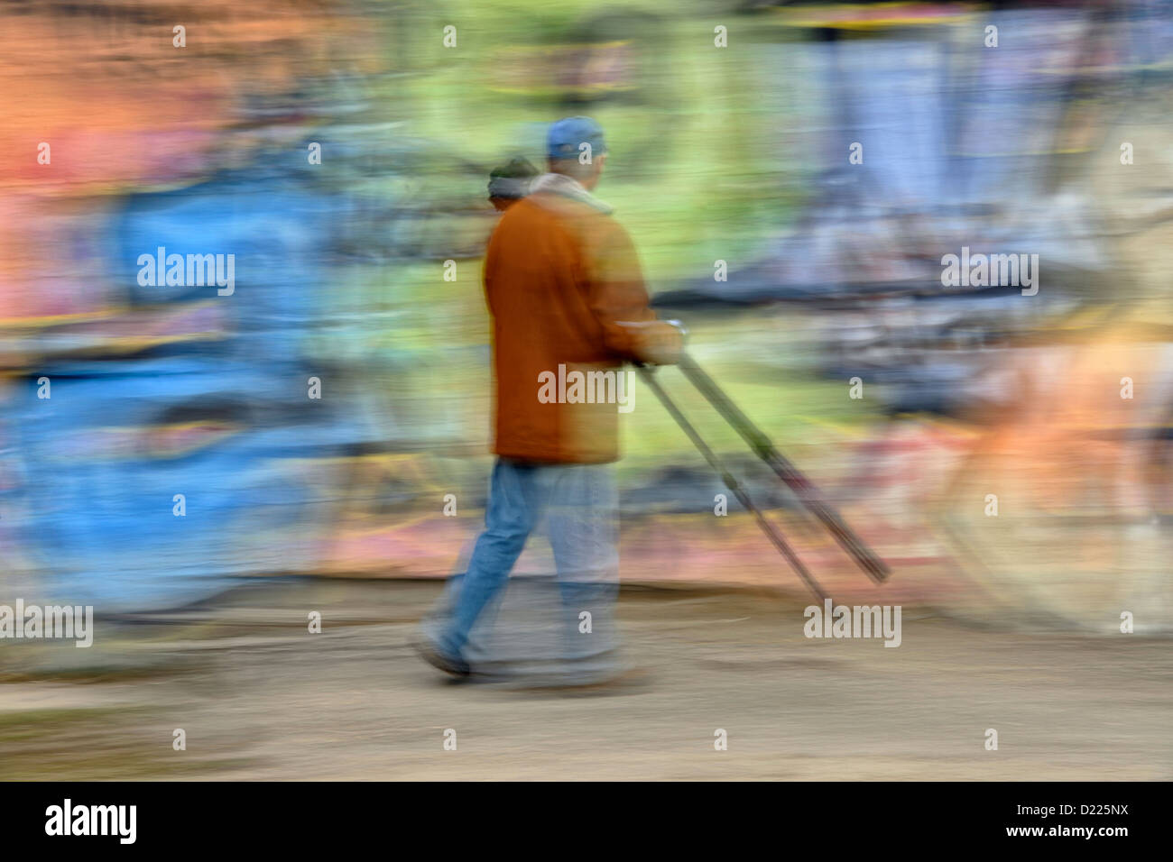 Photographer and wall mural, Vernon, BC, Canada - Stock Image
