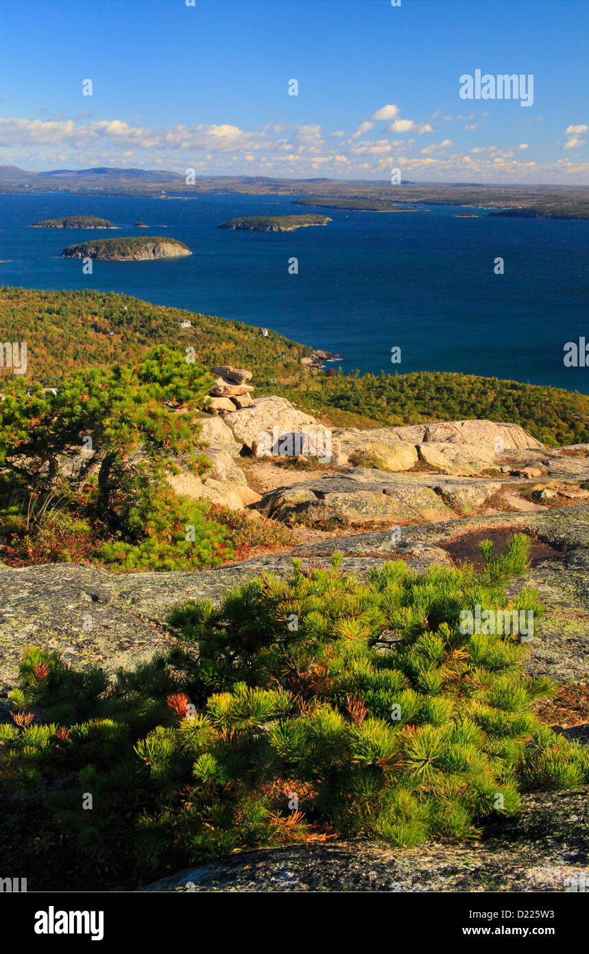 Champlain Mountain Trail, Looking at Frenchman Bay, Acadia National Park, Maine, USA - Stock Image