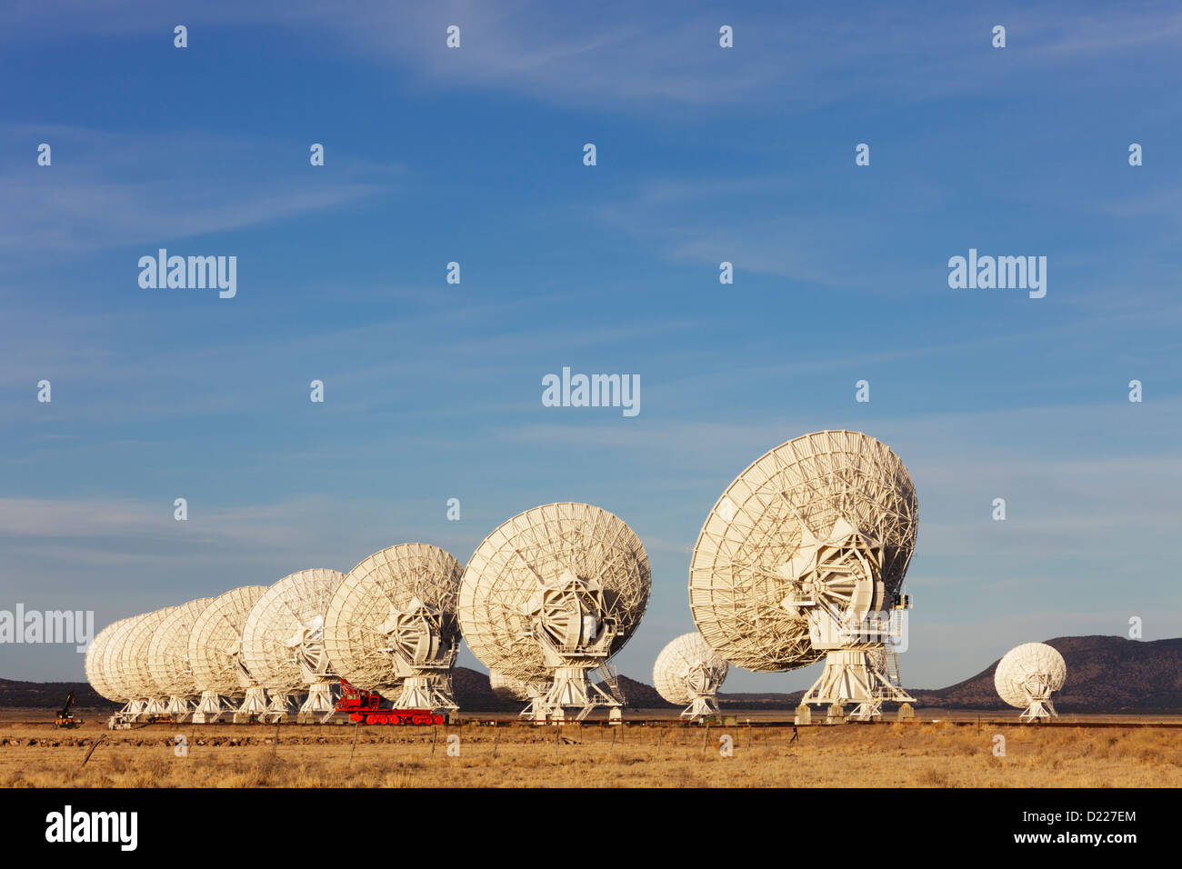 Radio telescope dishes in the Very Large Array (VLA), New Mexico, USA. Stock Photo