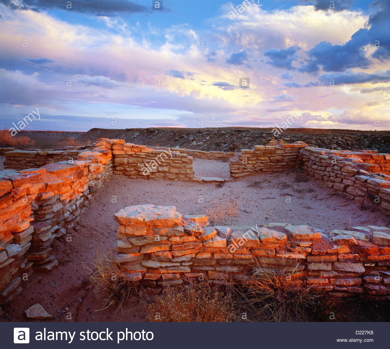 Anasazi ruins of the 'Puerco Pueblo' [Petrified Forest National Park] Arizona - Stock Image
