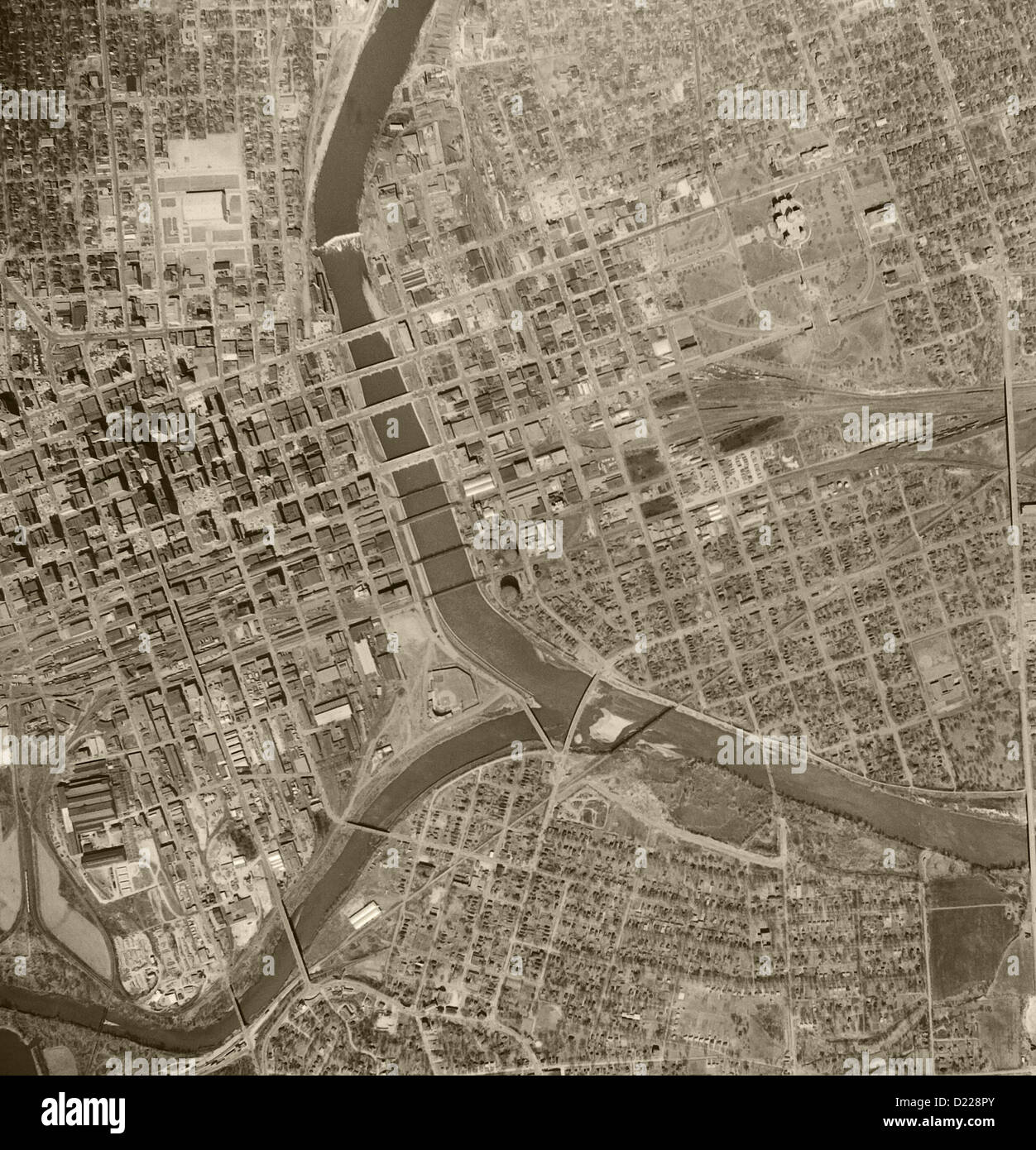 historical aerial photograph Des Moines, Iowa 1956 - Stock Image