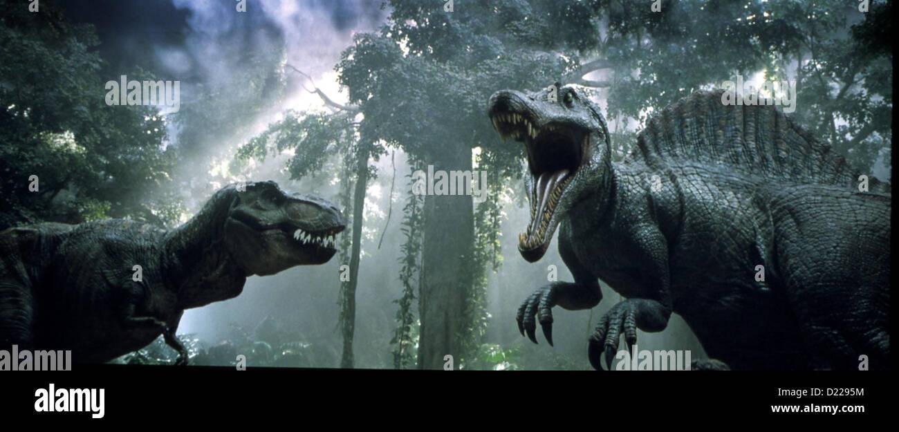 Jurassic Park Iii  Jurassic Park Iii  Tyrannosaurus Rex im Kampf gegen einen Spinosaurus *** Local Caption *** 2001 - Stock Image