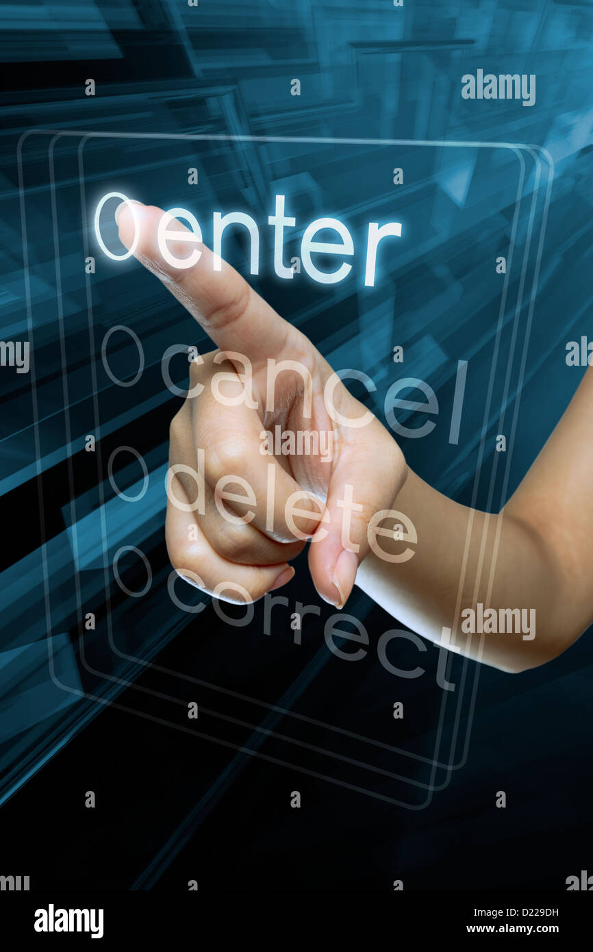 a woman finger  select a option  on a digital screen - Stock Image