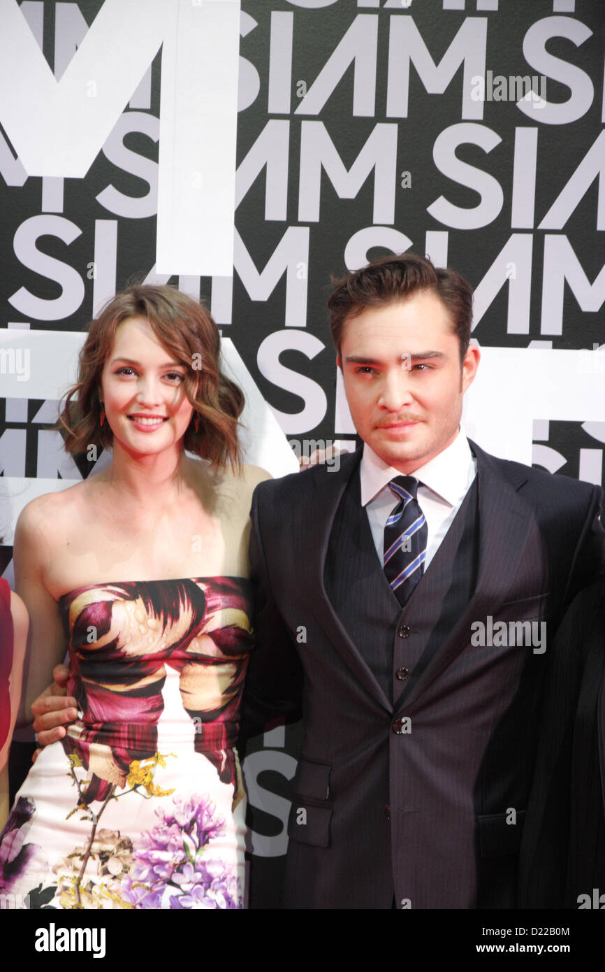 Bangkok, Thailand. 11th Jan 2013 .  Leighton Meester and Ed Westwick during Siam Center Grand reopening in Bangkok - Stock Image
