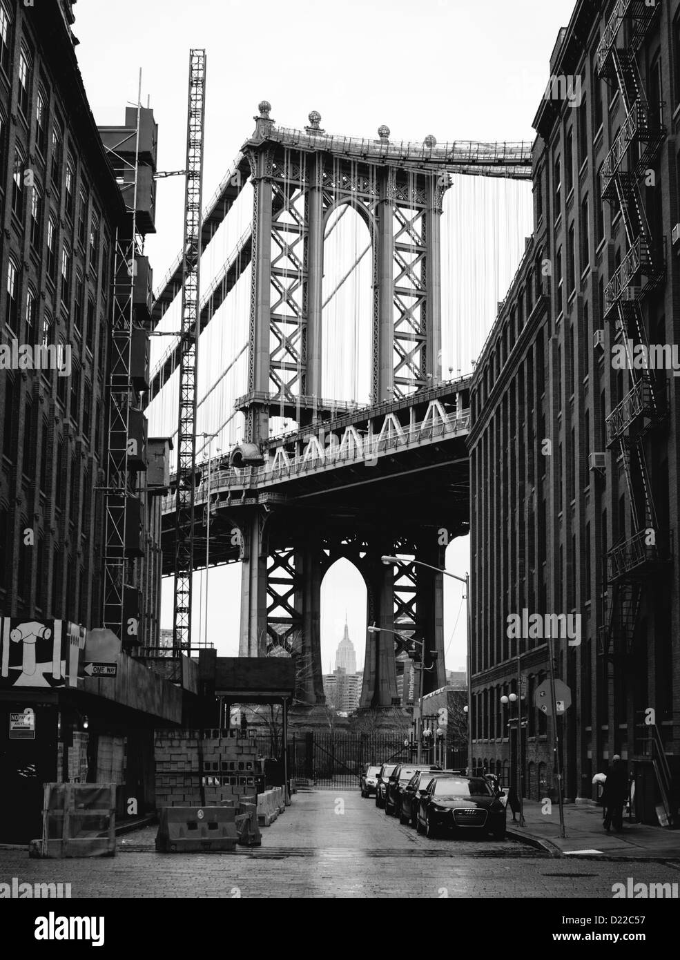 Manhattan Bridge from DUMBO, South Brooklyn. Famous Shot from Once Upon a Time in America--in Black and White. - Stock Image