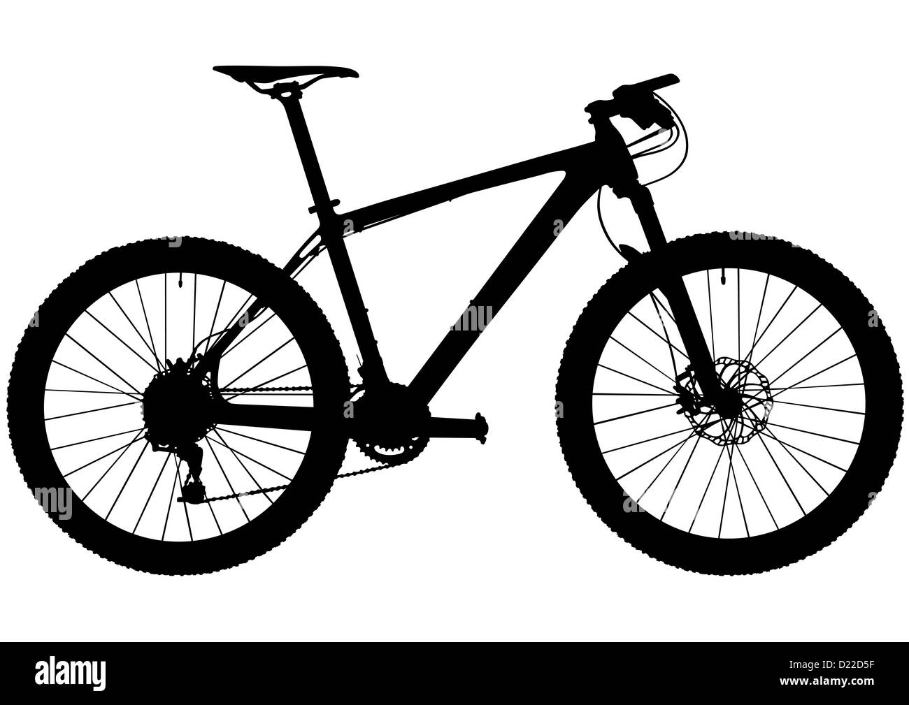 Hard tail cross country mountain bike silhouette on white background - Stock Image