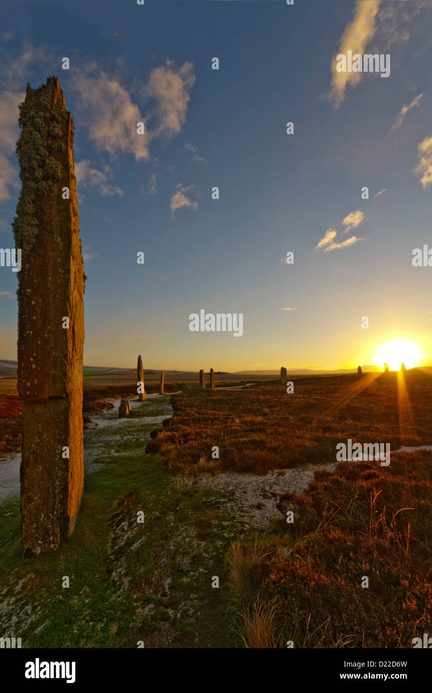 Winter sunset at Ring of Brodgar, Orkney isles - Stock Image