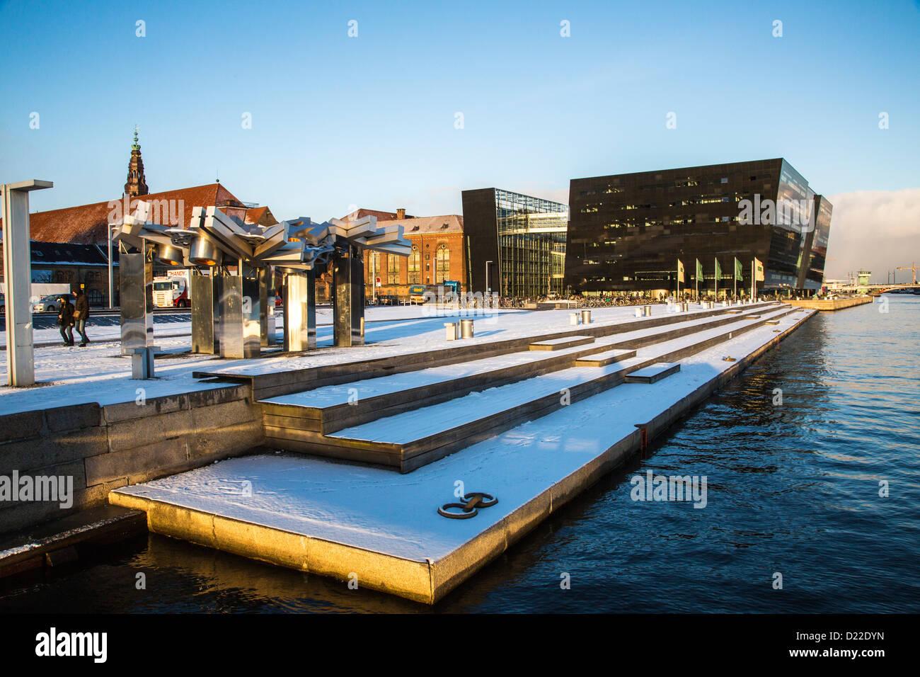 New, modern annex of the royal Danish library, called The Black Diamond, Copenhagen, Denmark, Europe Stock Photo