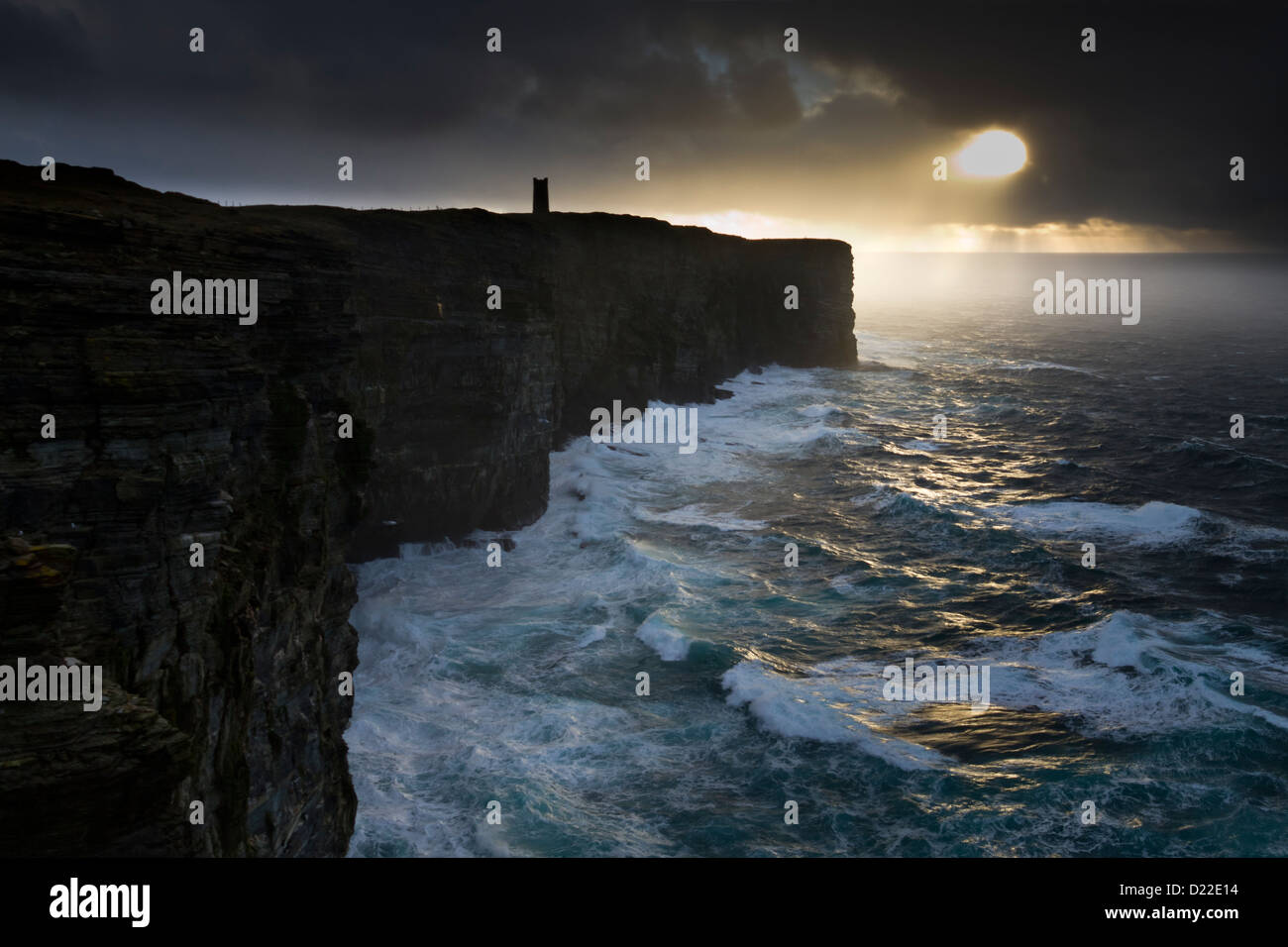 Dramatic light at Marwick Head, Orkney isles - Stock Image