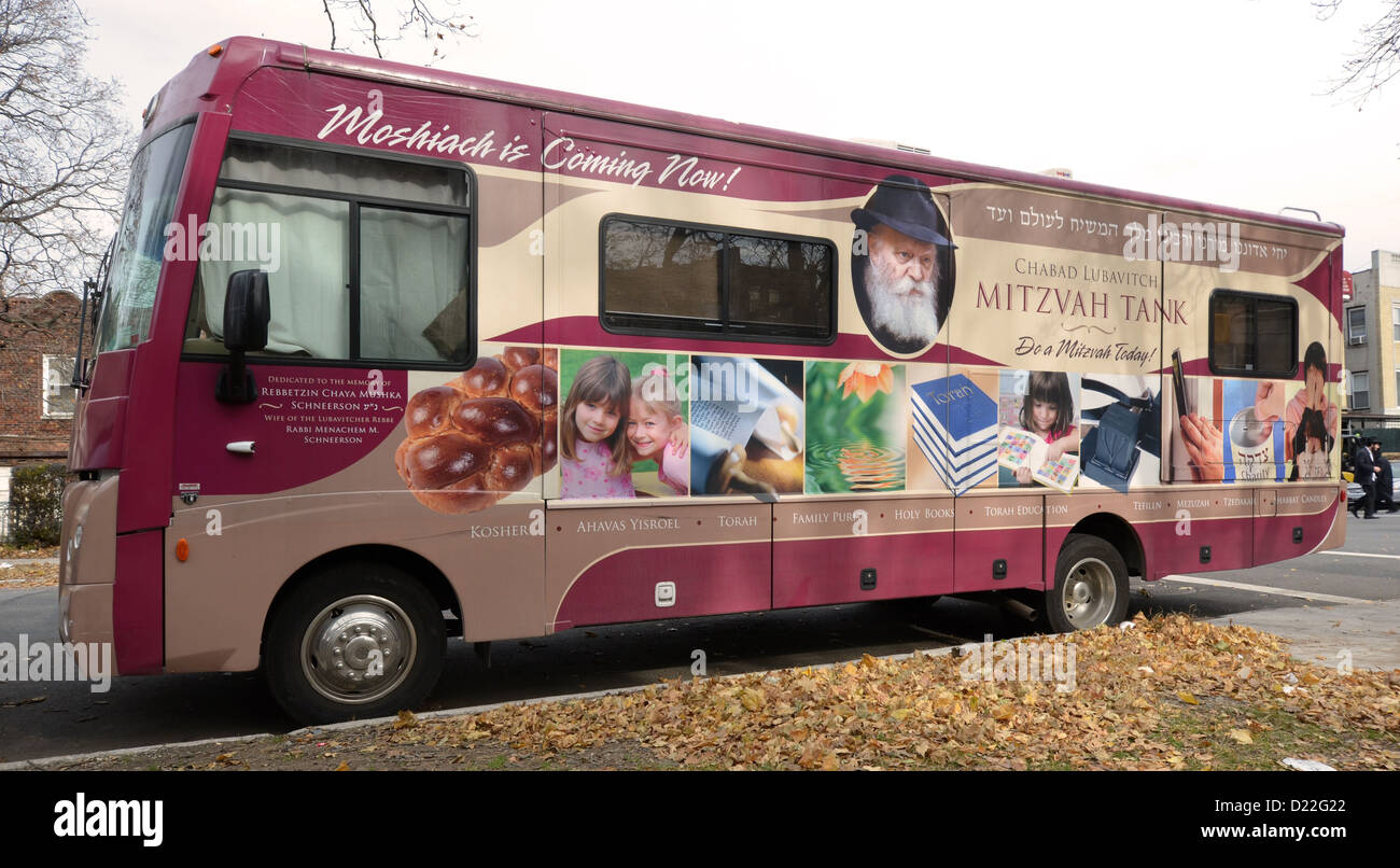 MItzvah Tank parked in the Crown Heights section of Brooklyn, New York - Stock Image