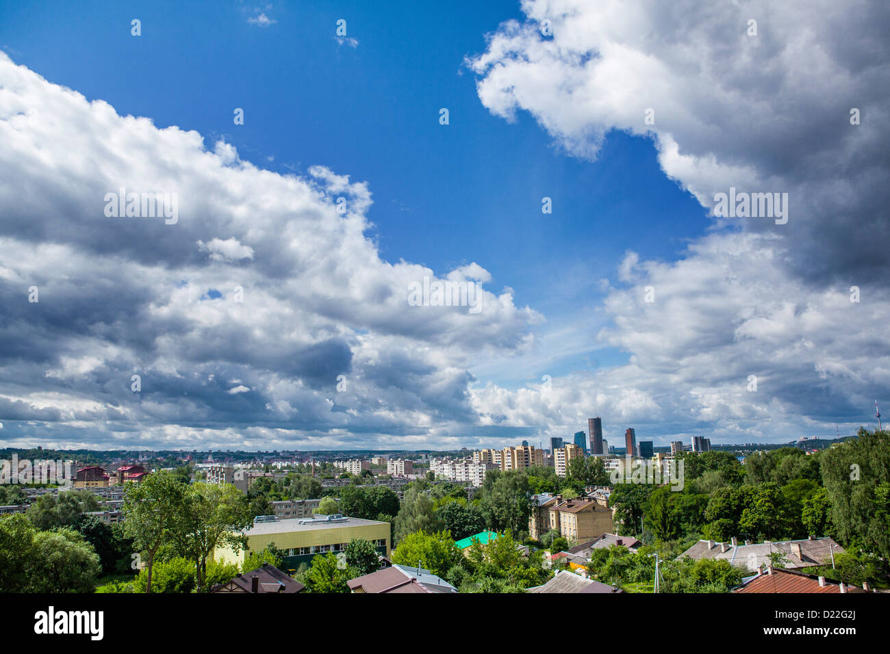 Panorama of Vilnius on a cloudy day Stock Photo