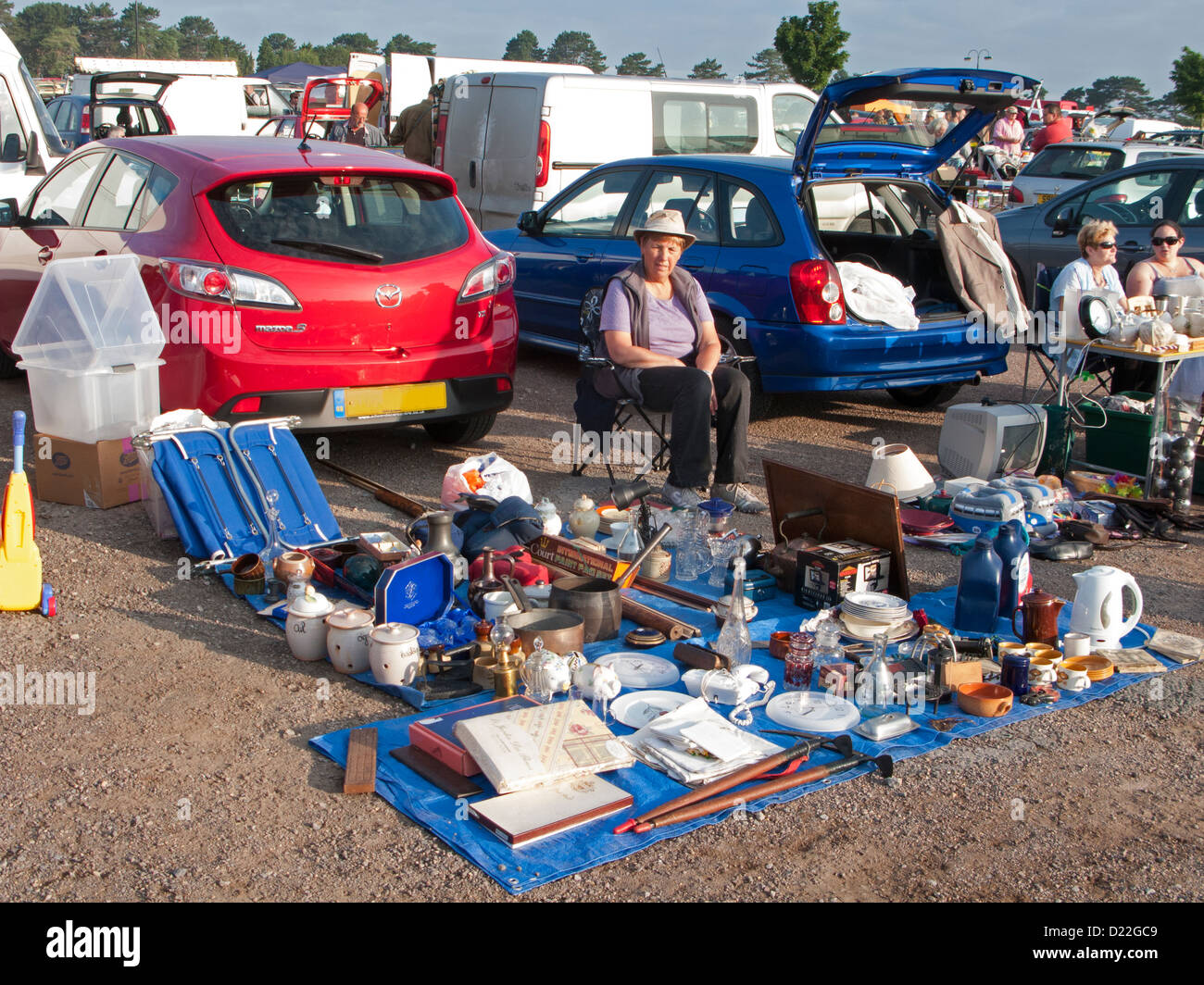 Car Boot Sale at Cheltenhm in Gloucestershire, England - Stock Image