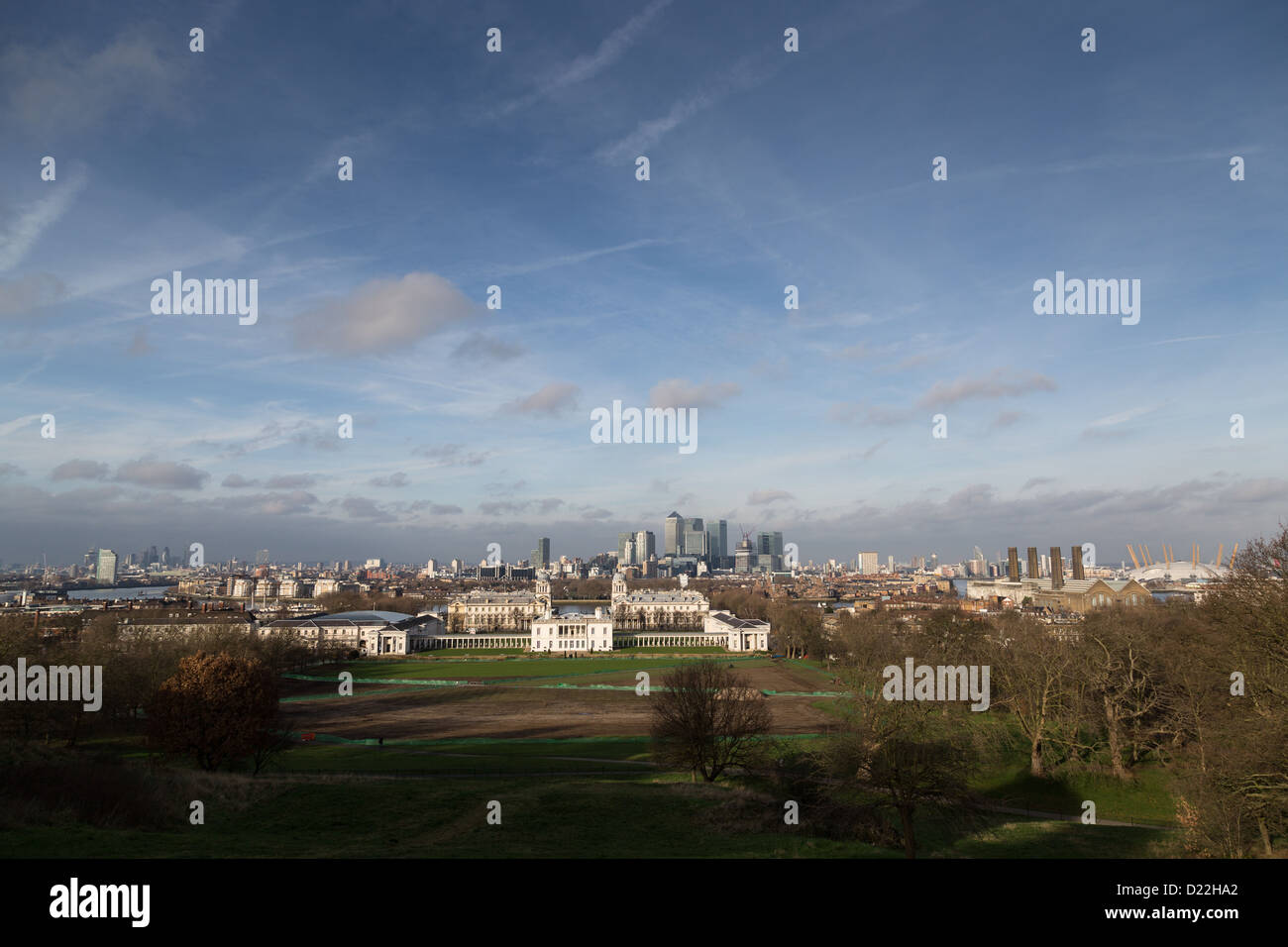 The National Maritime Museum viewed from Greenwich Park - Stock Image