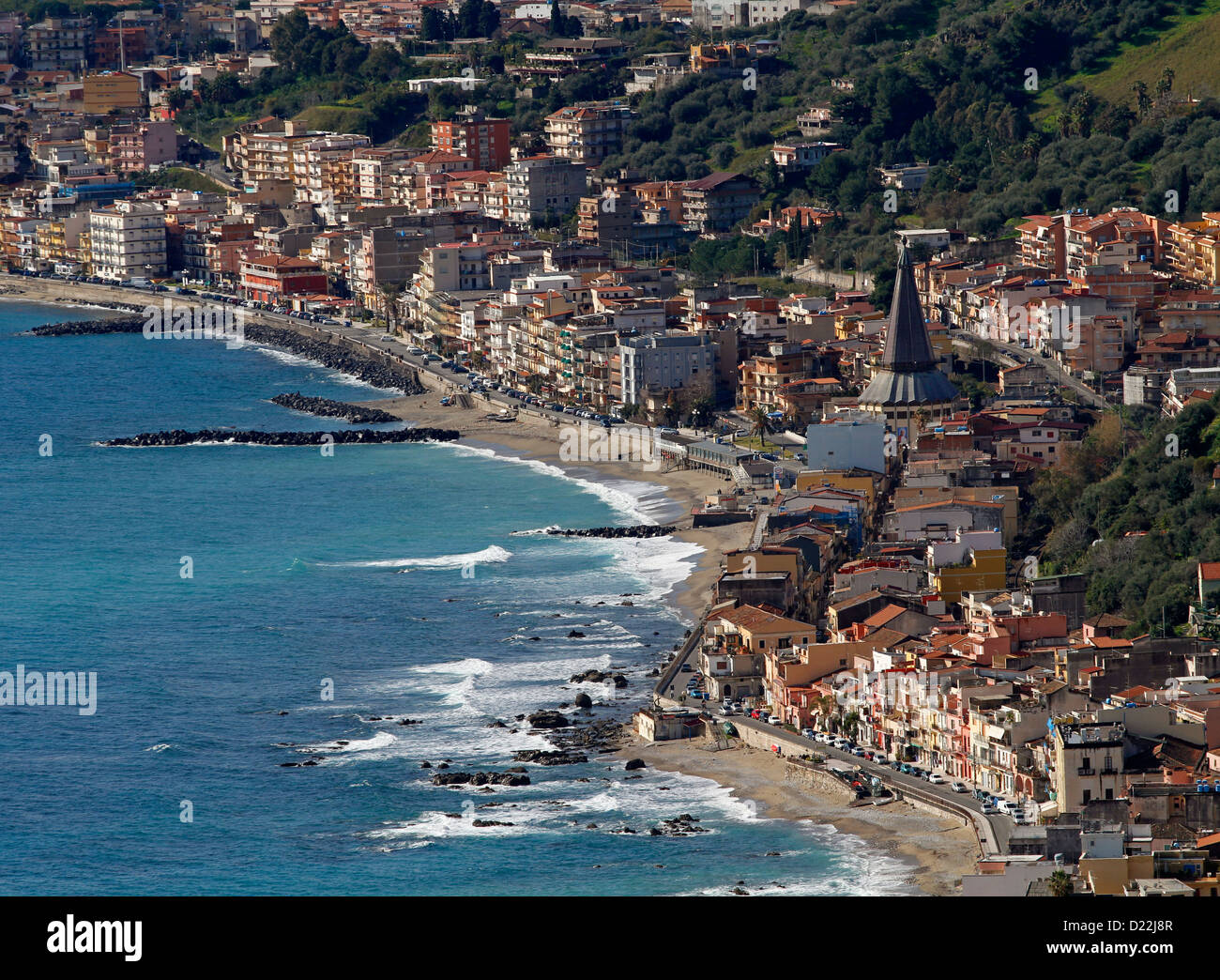 Giardini Naxos viewed from Taormina, Sicily, Italy - Stock Image