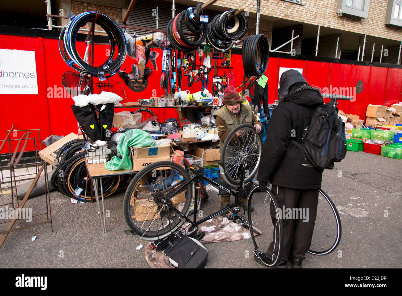 Market Stall Selling Bicycles Parts And Accessories Brick Lane