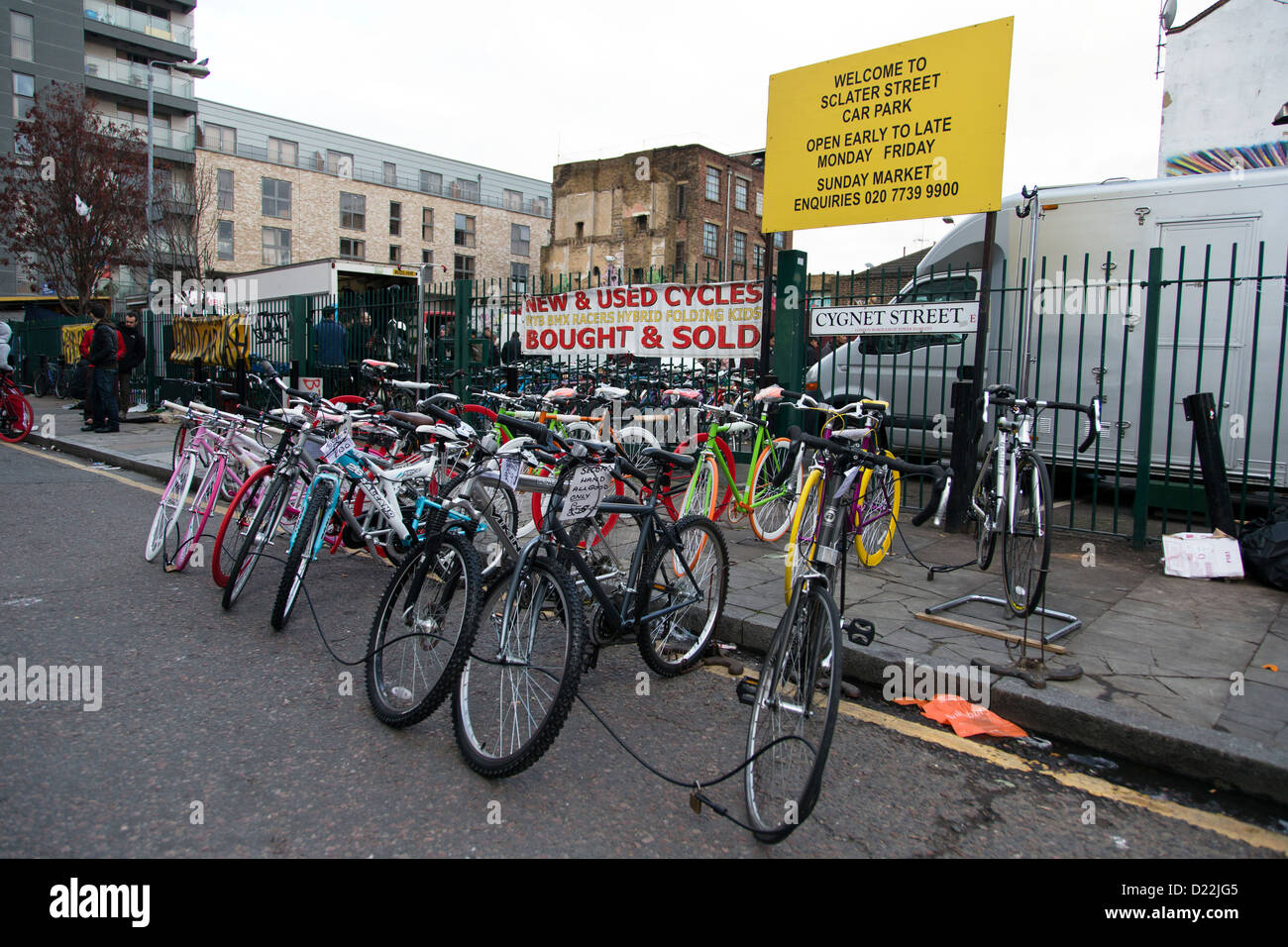 Used bicycles for sale in Cygnet Street near Brick Lane Market Stock