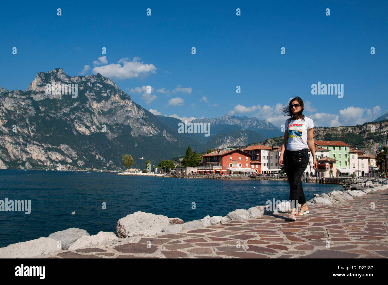 Woman, Girl, walking, Lake, Gardasee, Lago di Garda, Torbole, Lake Garda, Trient, Italy, Europe Stock Photo