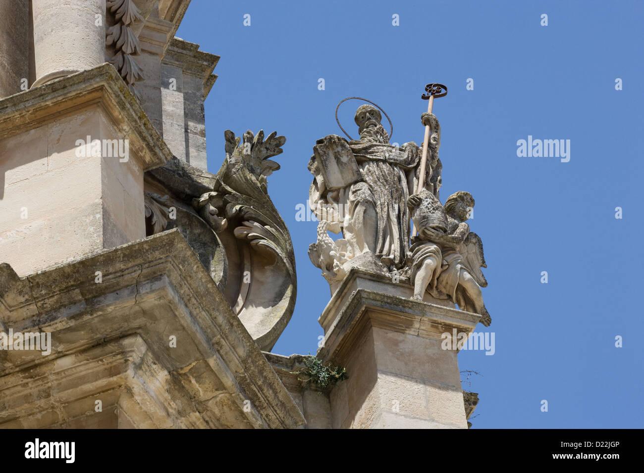 Ragusa Ibla: Corso XXV Aprile - church of San Giuseppe details - Stock Image