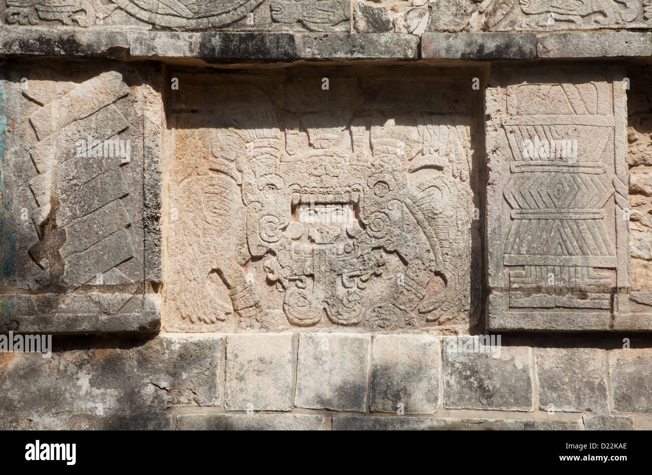 Detail on the Platform of Eagles and Jaguars at Chichen Itza, Mexico - Stock Image
