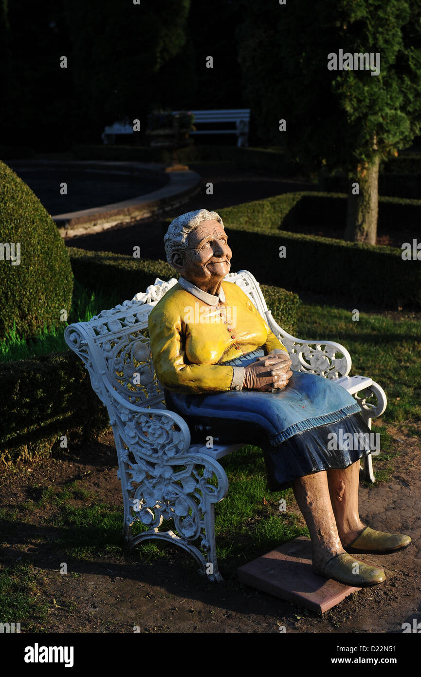 Rust, Germany, the figure of an old woman in the Europa-Park Rust - Stock Image