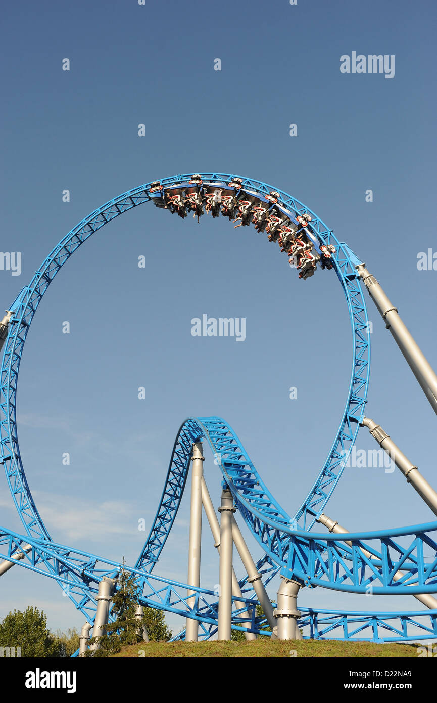 Rust, Germany, the Blue Fire Mega Coaster at Europa-Park Rust - Stock Image