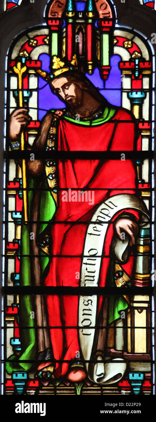 King Solomon , stained glass window from Saint Germain-l'Auxerrois church, Paris Stock Photo