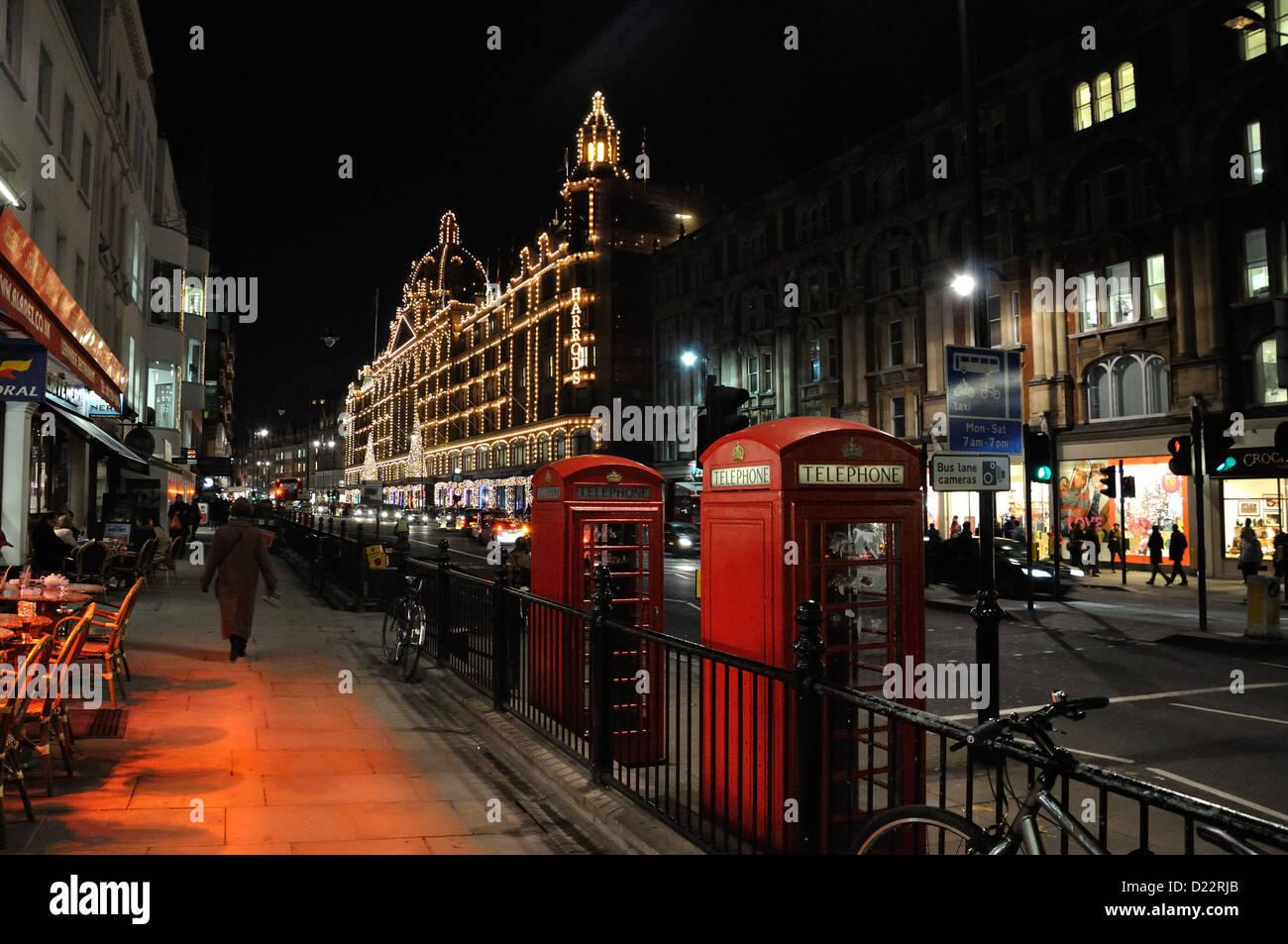 View of Knightsbridge, London looking towards Harrods - Stock Image