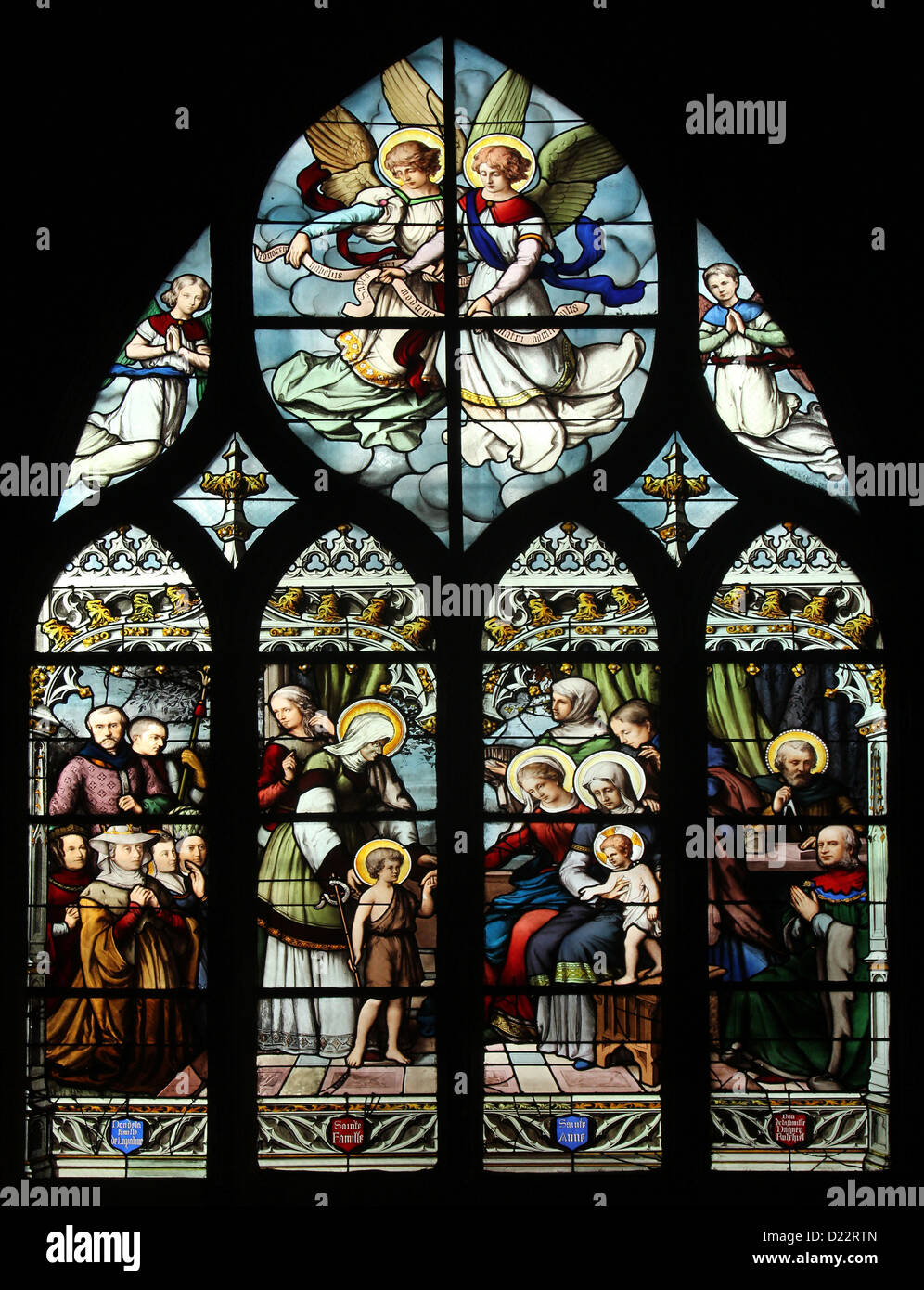 St. John the Baptist introduced by his mother,St. Elizabeth,the Infant Jesus and the Holy Kinship,St Severin church,Paris,France - Stock Image