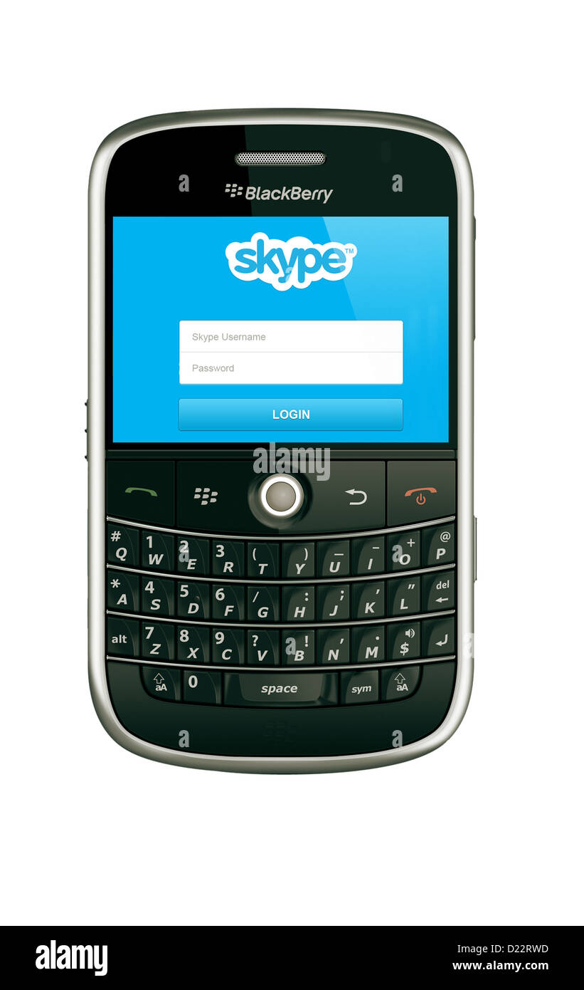 A blackberry model 9000 mobile phone using skype - Stock Image