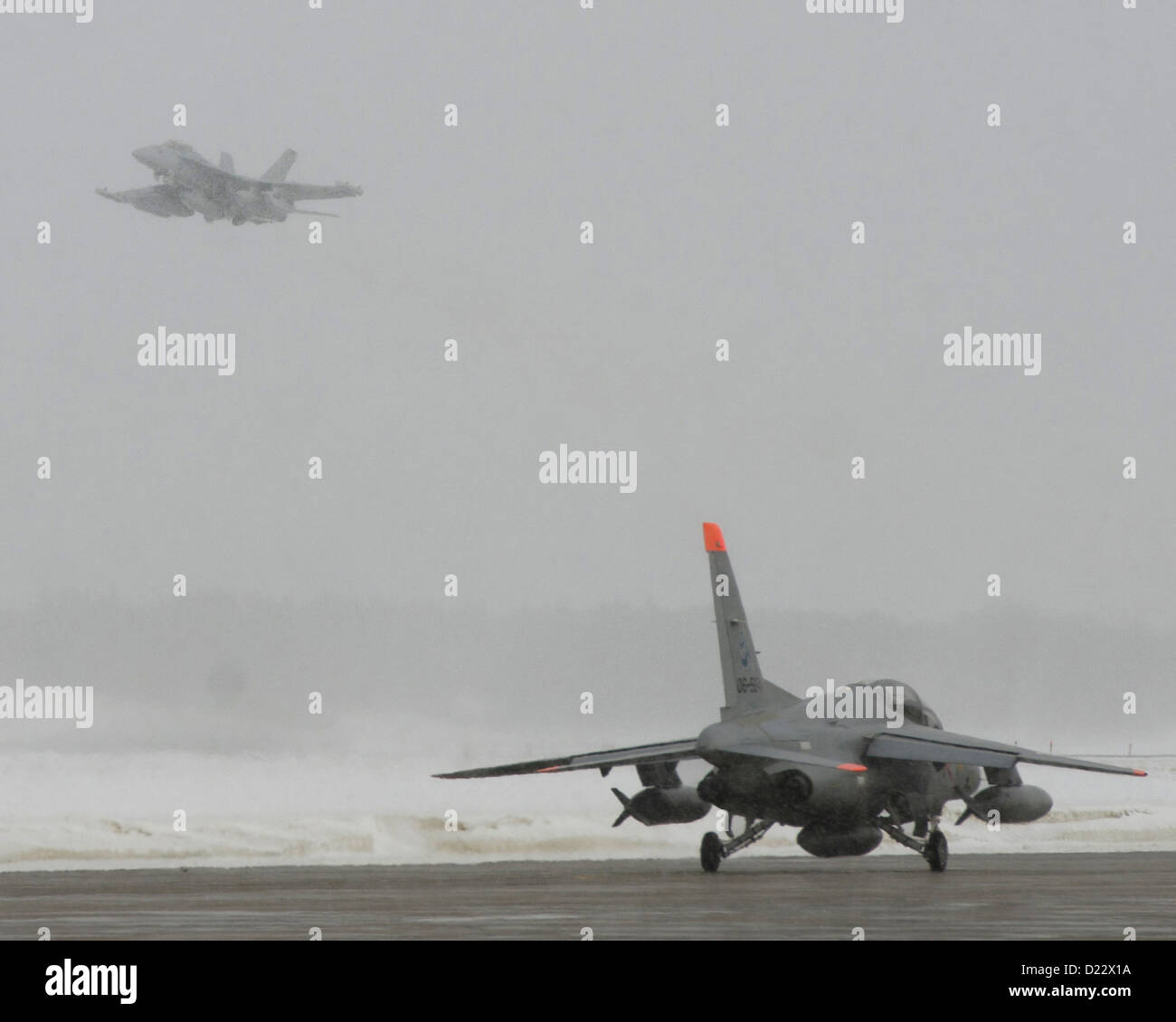 MISAWA AIR BASE, Japan (Jan. 10, 2013) An EA-18G Growler from Electronic Attack Squadron 132 takes off from the - Stock Image