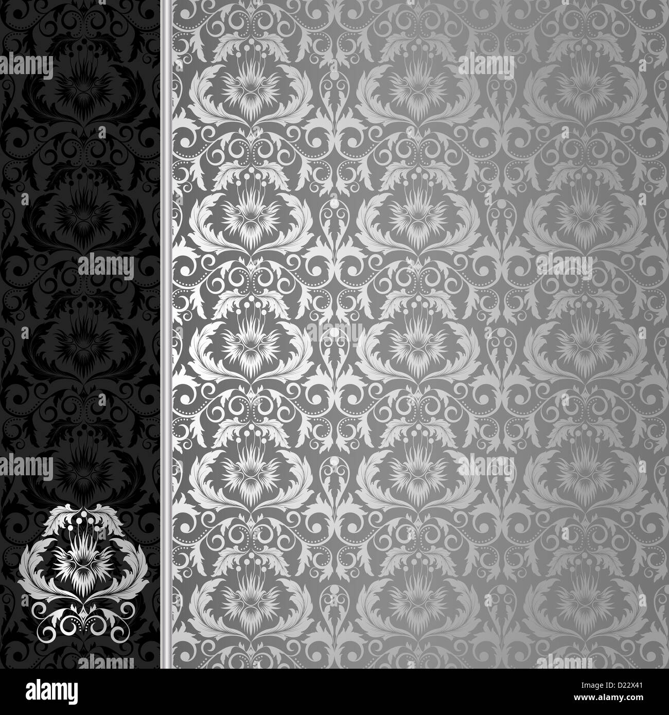 Silver Floral Wallpaper Black And White Stock Photos Images Alamy