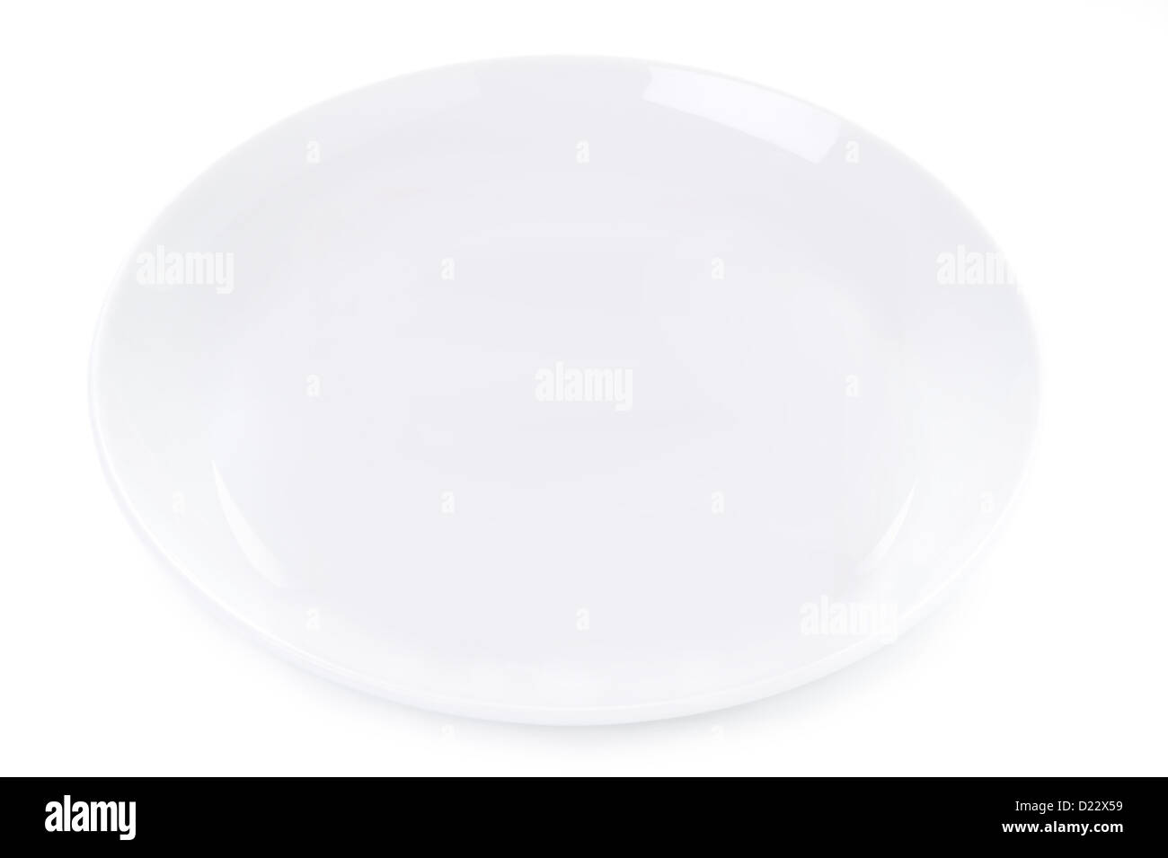 plain empty plate isolated on a white background - Stock Image