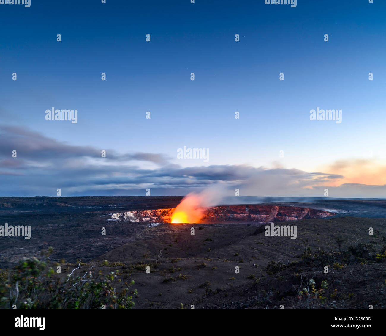 Halemaumau Caldera, Kilauea Volcano,Volcanoes National Park, Big Island, Hawaii, USA - Stock Image